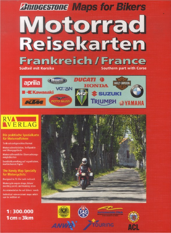 France - Southern part with Corse - the Handy Map for Motorcyclists