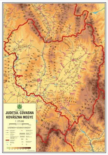 Covasna County - wall map